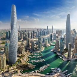 ZERO-FIFTY vision of Dubai in the year 2050 partially powered by renewable energy towers