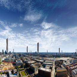 ZERO-FIFTY vision of London in the year 2050 partially powered by renewable energy towers