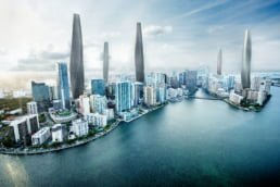 ZERO-FIFTY vision of Miami in the year 2050 partially powered by renewable energy towers