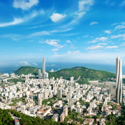 ZERO-FIFTY vision of Rio de Janerio in the year 2050 partially powered by renewable energy towers