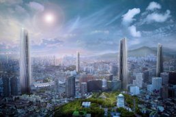 ZERO-FIFTY vision of Seoul in the year 2050 partially powered by renewable energy towers