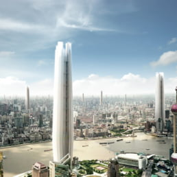 ZERO-FIFTY vision of Shanghai in the year 2050 partially powered by renewable energy towers