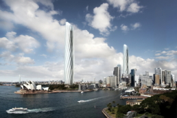 ZERO-FIFTY vision of Sydney in the year 2050 partially powered by renewable energy towers