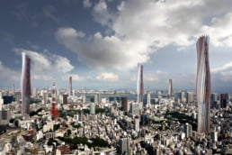 ZERO-FIFTY vision of Tokyo in the year 2050 partially powered by renewable energy towers