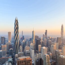 ZERO-FIFTY vision of Chicago in the year 2050 partially powered by renewable energy towers